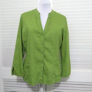 Eileen Fisher Grass Green Linen Blend Button Top
